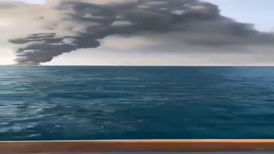 The largest ship in the Iranian navy catches fire and later sinks in the Gulf of Oman, 1 June, 2021